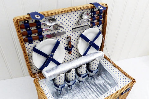 Image of The Lonsdale 4 Person Wicker Picnic Basket with Food.  The perfect luxury picnic gift basket.