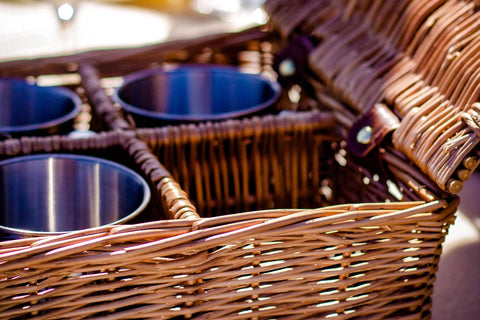 Image of The Sandringham Wicker 4 Person Luxury Picnic Basket.  The perfect gift basket for the family.