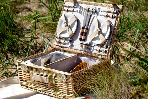 Image of The Sutton 4 Person Wicker Picnic Basket with Food.  Luxury selection of mens gifts.