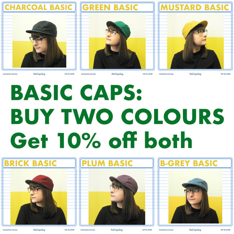 Basic Caps, buy two colours, get 10% off BOTH