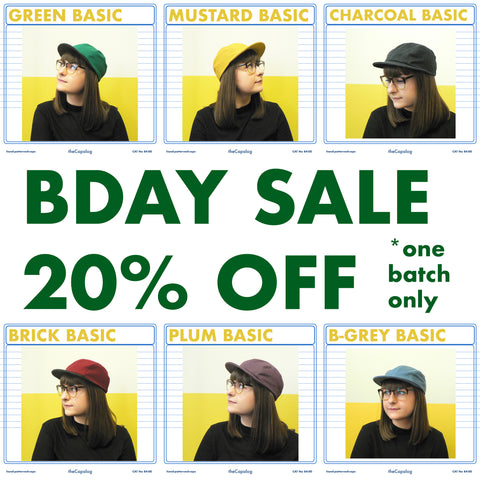 Birthday sale off all caps on thecapalog.com one batch only!