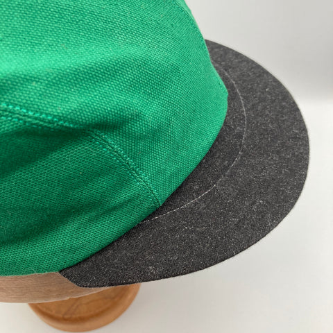 Green basic cap, made from organic cotton canvas and denim