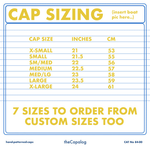 Size chart for caps available to order via the capalog