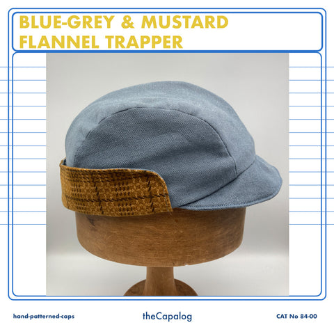 Blue-Grey Flannel Trapper Cap