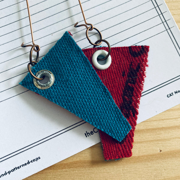 Red/Teal/White Eyelet Offcuts Earrings