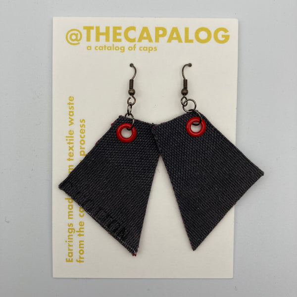 Grey/Brick/Red Eyelet Offcuts Earrings
