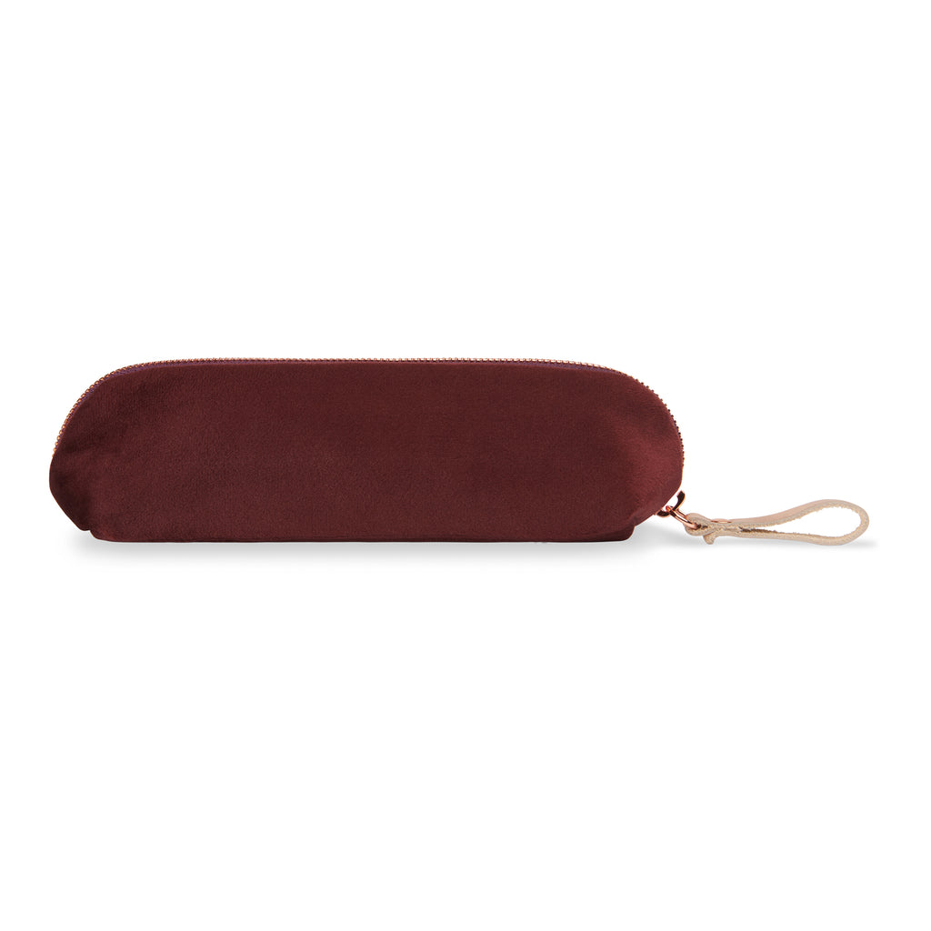 "Satin-nylon velvet embroidered pencil case - ""beauty brains balls"""