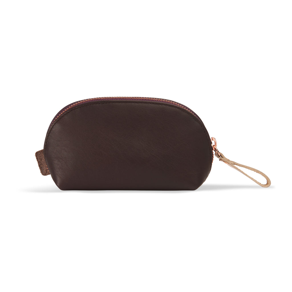 "Small leather makeup bag burgundy - ""cute curious crazy"" - BIEN moves"