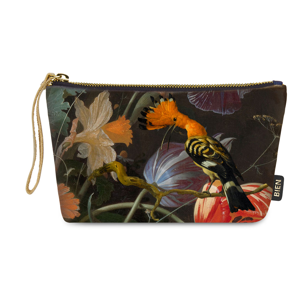 Velvet satin-nylon pouch - Hop bird & flowers - BIEN moves