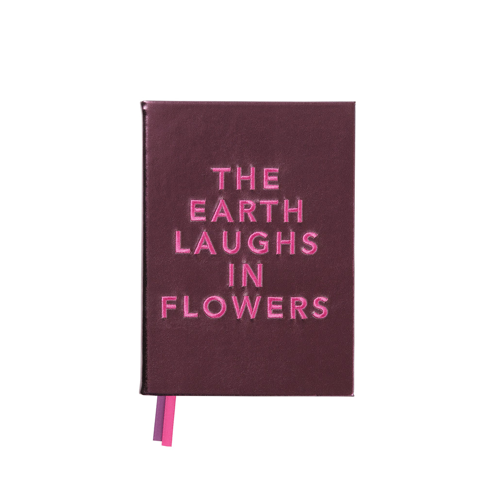 "Embroidered quote notebook - ""The Earth Laughs"""