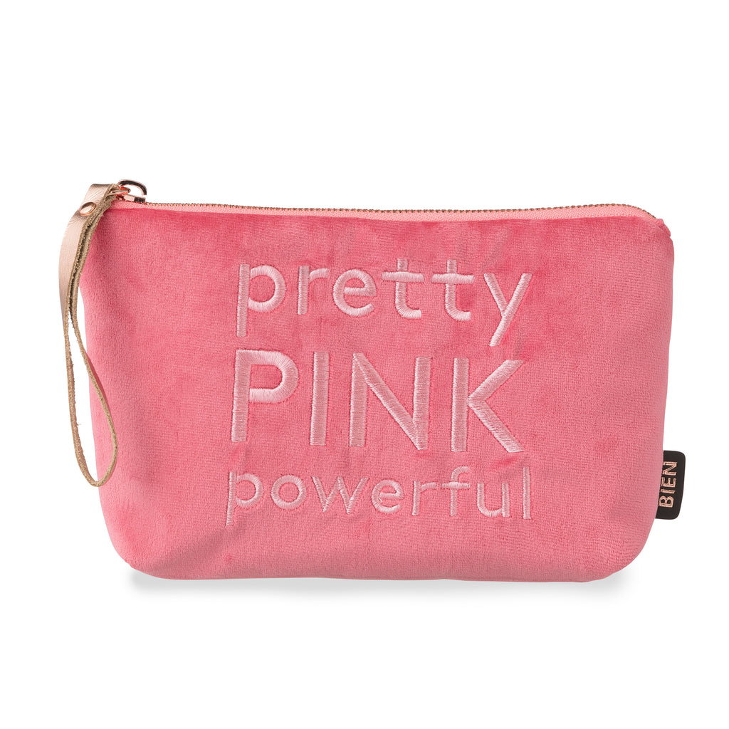 "Velvet satin-nylon pouch - ""pretty PINK powerful"" - BIEN moves"