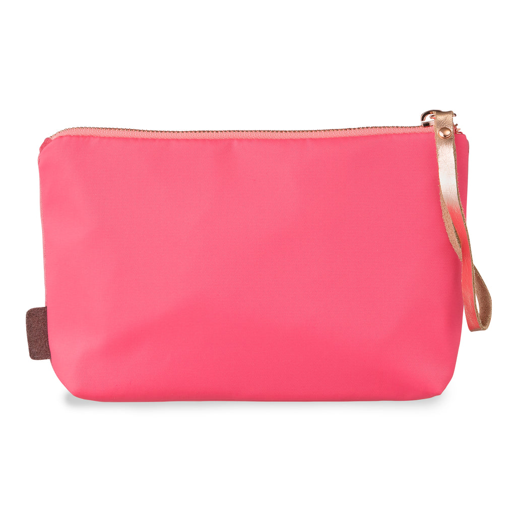 "Velvet satin-nylon pouch - ""pretty PINK powerful"""