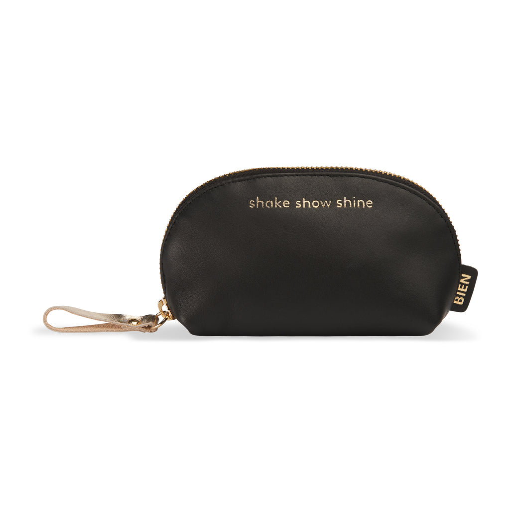 "Small leather makeup bag - ""shake show shine"""
