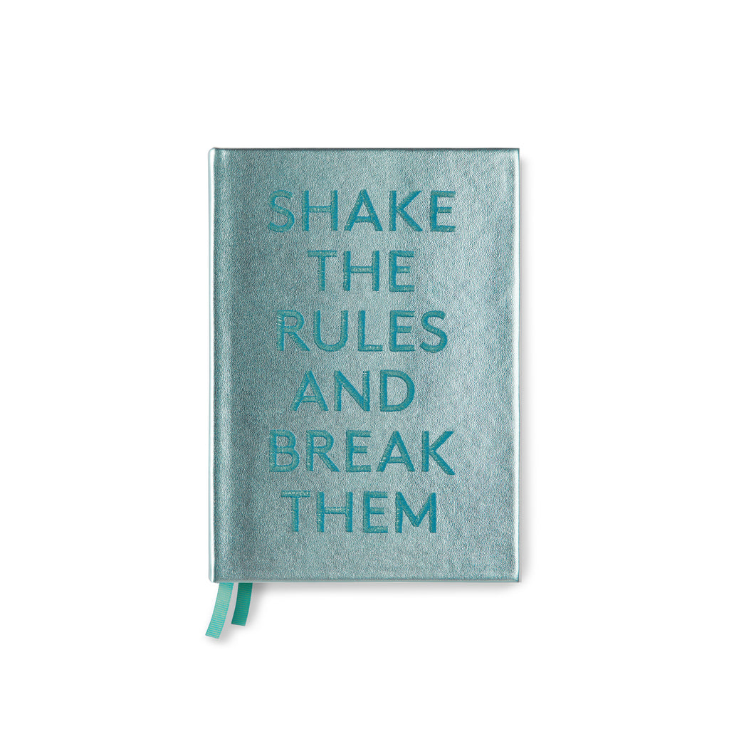 "Embroidered quote notebook - ""Shake the rules"""