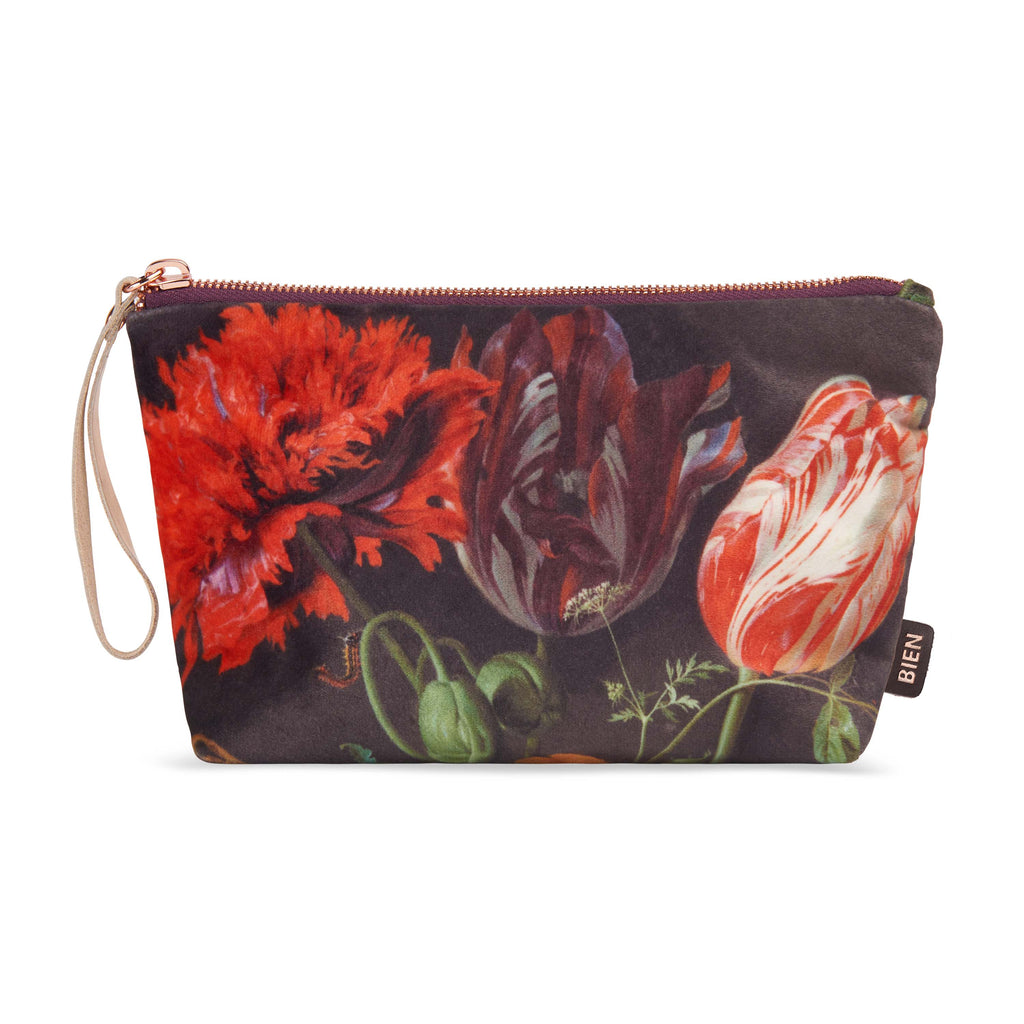 Velvet satin-nylon pouch - Flowers - BIEN moves