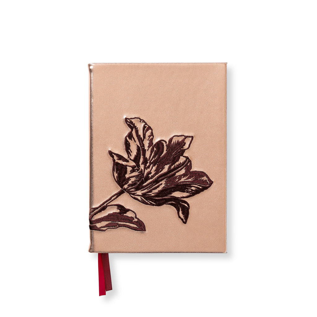 Embroidered synthetic leather notebook - Tulip