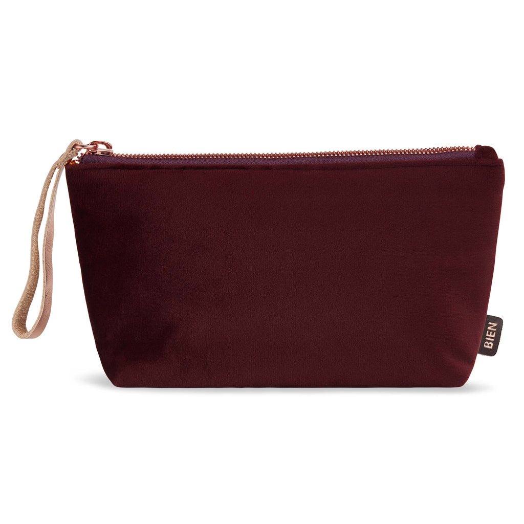 Velvet satin-nylon pouch - Burgundy uni - BIEN moves