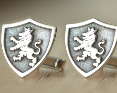 Shield Type Family Crest Cufflinks-Minimalist Designs