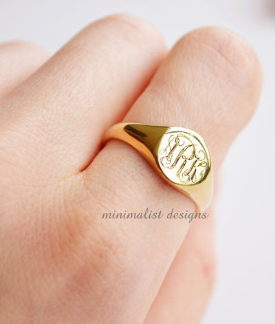 Custom Made Monogram Signet Ring-Minimalist Designs