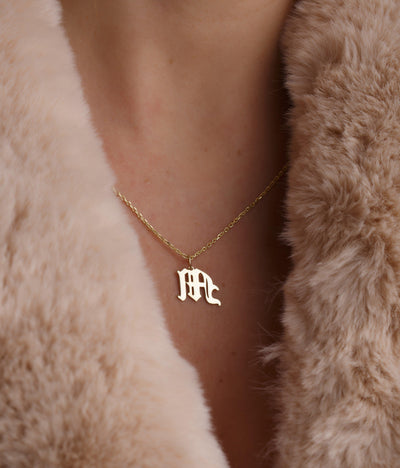Personalized Gothic Style Initial Necklace