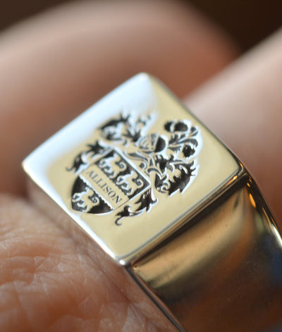Personalized Square  Family Crest Ring