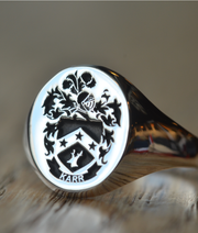 Custom Made Family Crest Ring - Karr Crest - Any Crest-Minimalist Designs