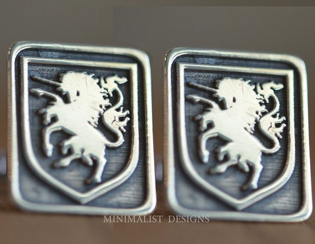 Custom Made Rectangle Family Crest Cufflinks-Minimalist Designs