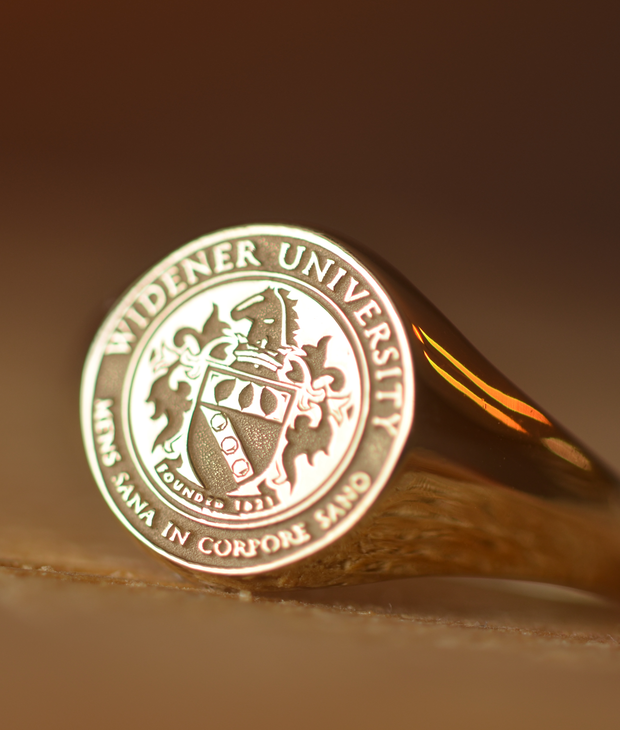 Solid Gold Custom Made College Ring - Widener University - Any College-Minimalist Designs