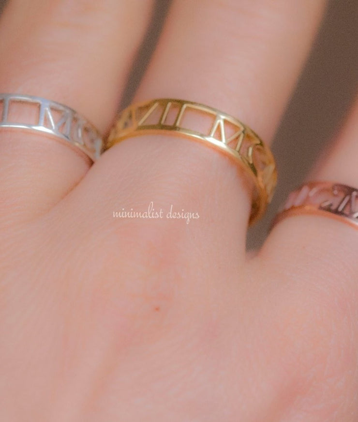 Custom Made Roman Numeral Class Ring-Minimalist Designs