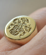 Custom Made Oval Family Crest Ring