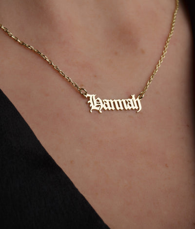 Personalized Gothic Style Name Necklace