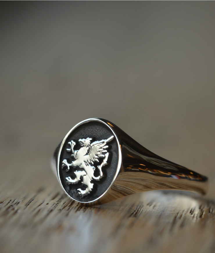 Custom Made Family Crest Ring - Griffin Ring-Minimalist Designs