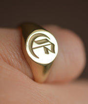 Monogram Signet Ring-Minimalist Designs