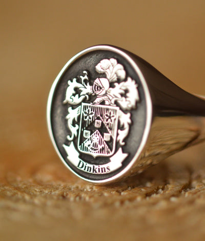 Custom Made Family Crest Ring - Dinkins Crest - Any Crest-Minimalist Designs