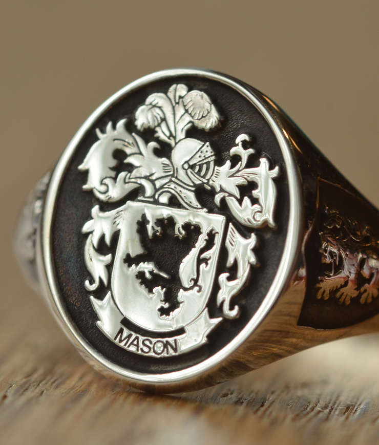 Custom Made Family Crest Ring - Mason Crest - Any Crest-Minimalist Designs