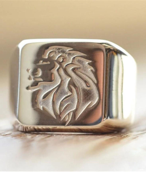 Solid Gold Square Custom Made Family Crest Ring-Minimalist Designs
