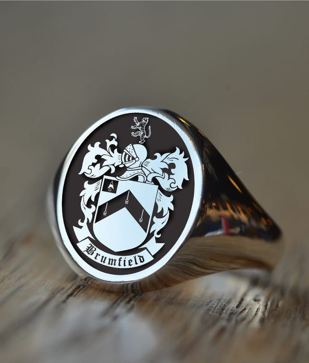 Custom Made Family Crest Ring - Brumfield Family Crest - Any Crest-Minimalist Designs