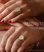 Custom Made Oval Asclepius Ring-Minimalist Designs