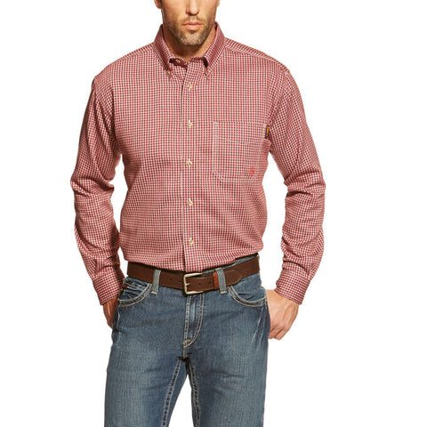 ARIAT® 10015945 FR Bell Work Shirt - Men's - Wine - Multiple Sizes