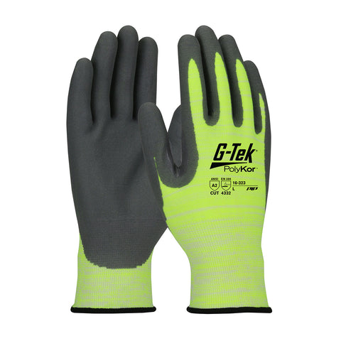PIP® G-Tek® PolyKor® Hi-Vis Seamless Knit PolyKor® Blended Glove w/Coated Foam Grip - 16-323