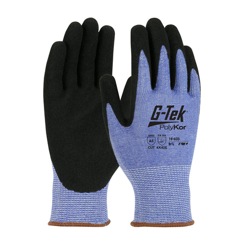 PIP® G-Tek® PolyKor® Seamless Knit PolyKor® Blended Glove w/Nitrile Coated MicroSurface Grip - Unisex - Blue