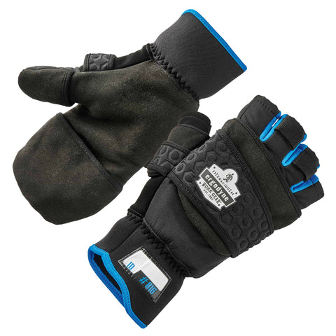 ergodyne® ProFlex® 816 Thermal Fingerless Winter Work Gloves / Flip-Top Mittens - Multiple Sizes