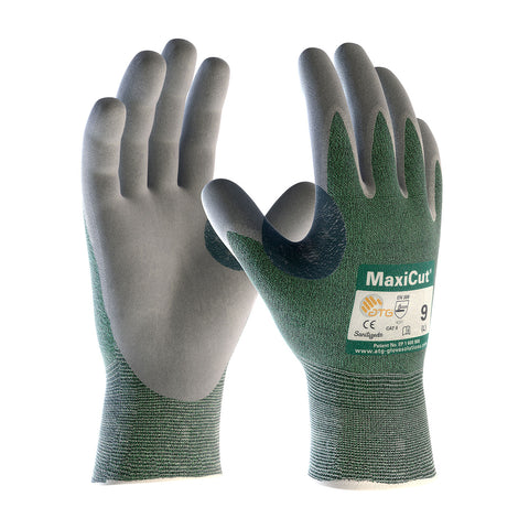 PIP® MaxiCut® Seamless Knit Engineered Yarn Glove w/Nitrile Coated MicroFoam Grip - Unisex - Green