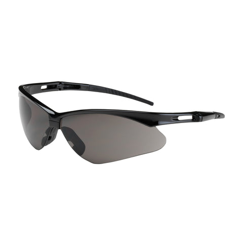 PIP® Anser™ Semi-Rimless Safety Glasses w/Black Frame - Gray Lens & Anti-Scratch Coating - OSFA