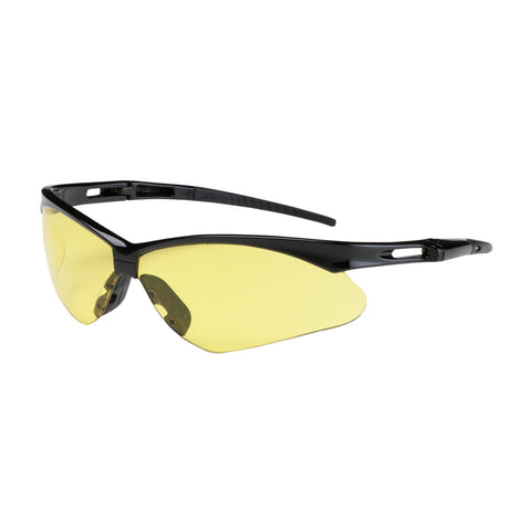 PIP® Anser™ Semi-Rimless Safety Glasses w/Black Frame - Amber Lens & Anti-Scratch Coating - OSFA