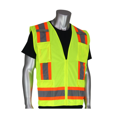 PIP® ANSI Type R / Class 2 Two-Tone Eleven Pocket Surveyors Vest w/Solid Front & Mesh Back - Unisex - Multiple Colors
