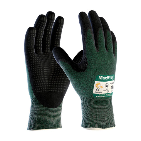 PIP® MaxiFlex® Cut™ Seamless Knit Engineered Yarn Glove w/Premium Nitrile Coated MicroFoam Grip - MicroDot Palm - Unisex - Green