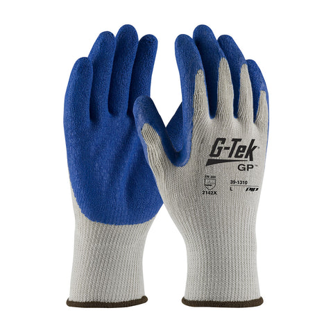 PIP® G-Tek® GP Seamless Knit Cotton/Polyester Glove w/Latex Coated Crinkle Grip - Unisex - Blue