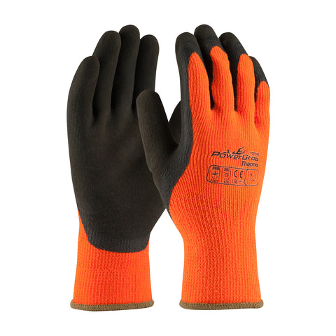 PIP® PowerGrab® Thermo Hi-Vis Seamless Knit Acrylic Terry Glove w/Latex MicroFinish Grip - Unisex - Orange