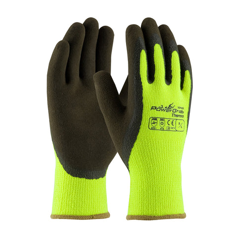 PIP® PowerGrab™ Thermo Hi-Vis Seamless Knit Acrylic Terry Glove w/Latex MicroFinish Grip - Unisex - Yellow
